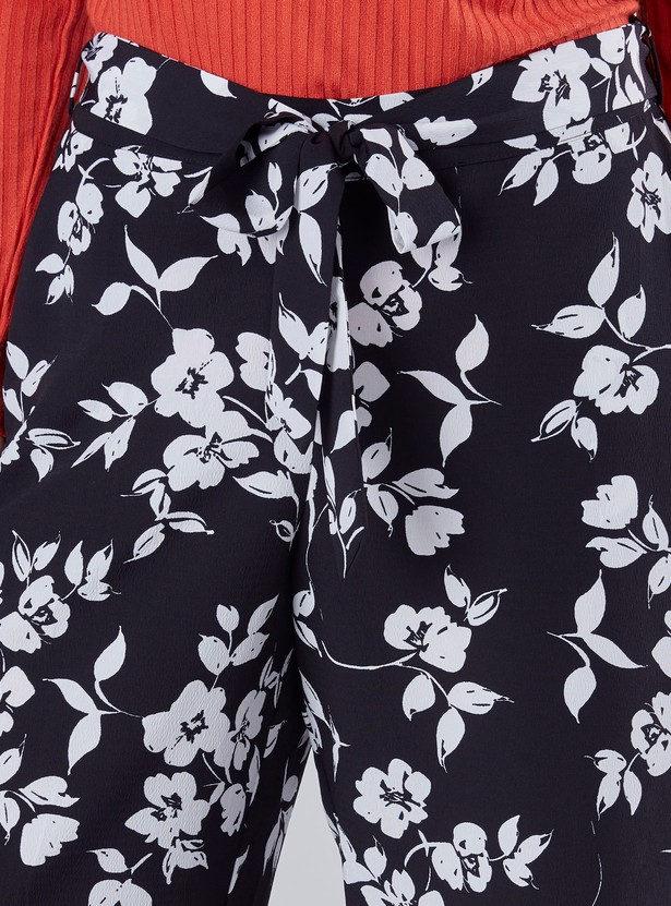 Wide Fit Floral Printed Palazzo Pants with Tie-Up Waist