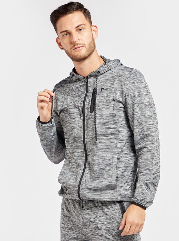 Textured Jacket with Hood and Pockets