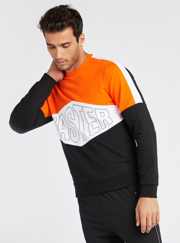 Panel Blocked Crew Neck Sweatshirt with Long Sleeves