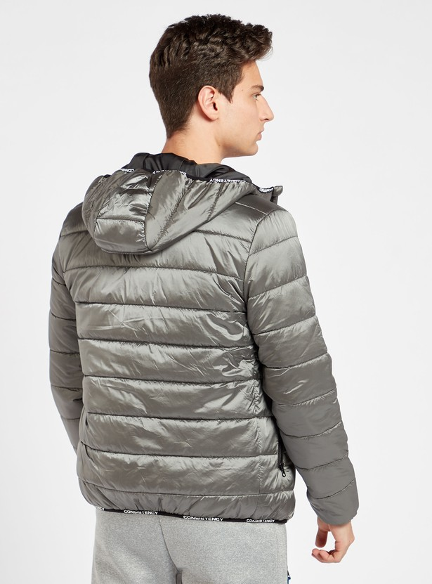 Quilted Front Zip Parka Jacket with Hood and Long Sleeves