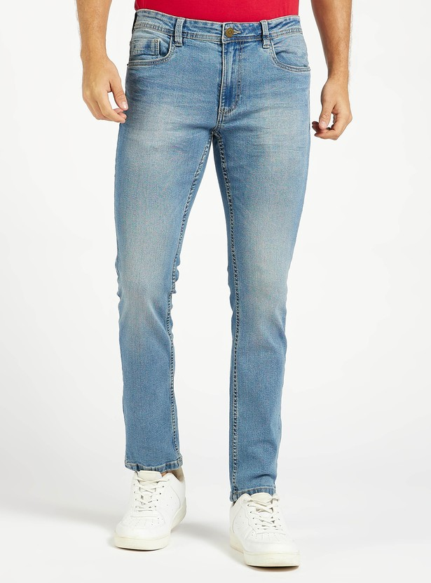Slim Fit Solid Jeans with Pockets and Belt Loops