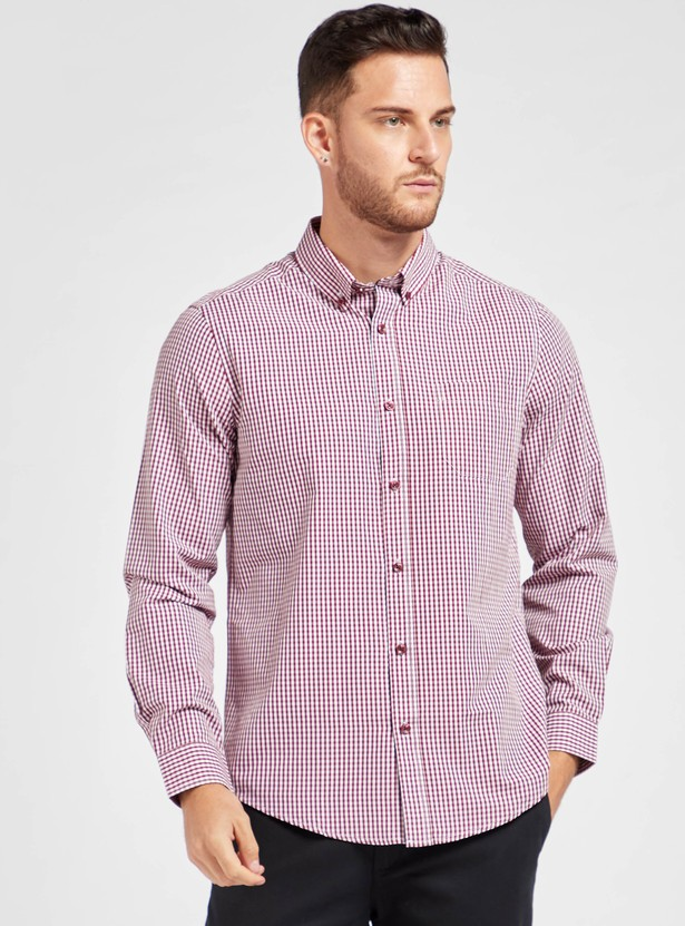 Regular Fit Checked Collared Shirt with Long Sleeves and Chest Pocket