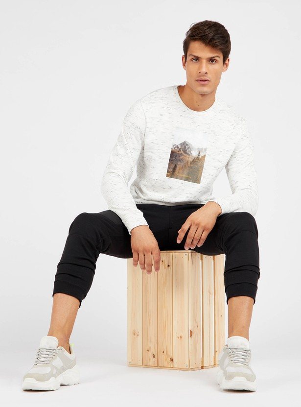 Regular Fit Flock Patch Print Round Neck Sweatshirt with Long Sleeves
