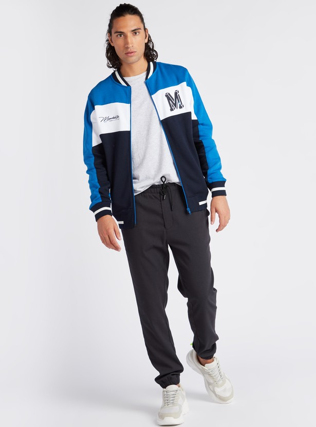 Colourblock Varsity Jacket with Long Sleeves and Zip Closure