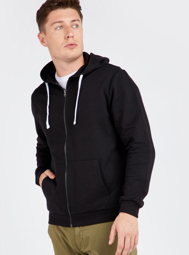 Solid Hoodie with Long Sleeves and Zip Closure
