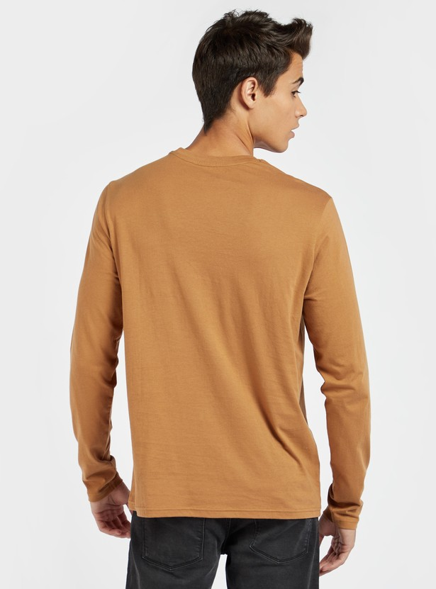 Printed Crew Neck T-shirt with Long Sleeves