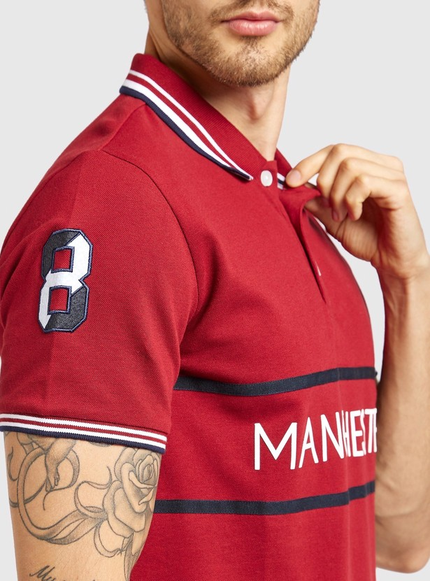 Manchester Print Polo T-shirt with Short Sleeves