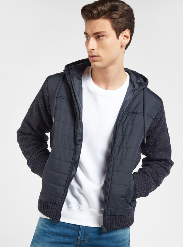 Padded Jacket with Hood and Pocket Detail