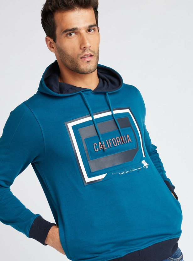 Printed Sweatshirt with Long Sleeves and Drawstring Hood