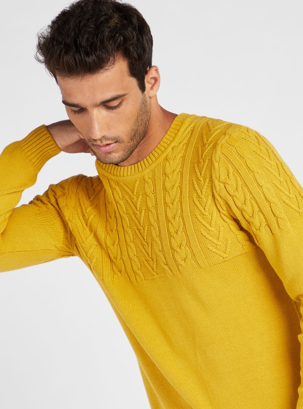 Knitted Crew Neck Sweater with Long Sleeves