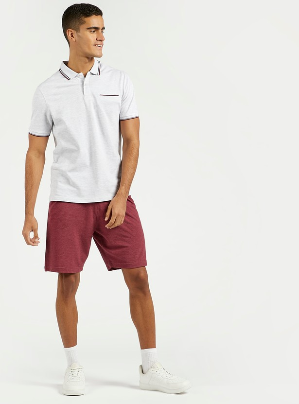 Solid Polo T-shirt with Piping Detail and Concealed Pocket