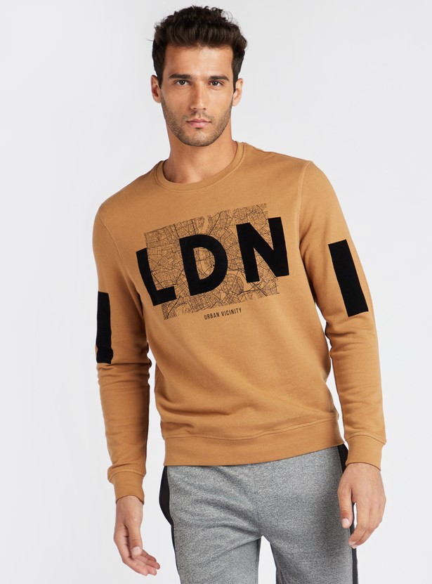Graphic Print Regular Fit Sweatshirt with Round Neck and Long Sleeves
