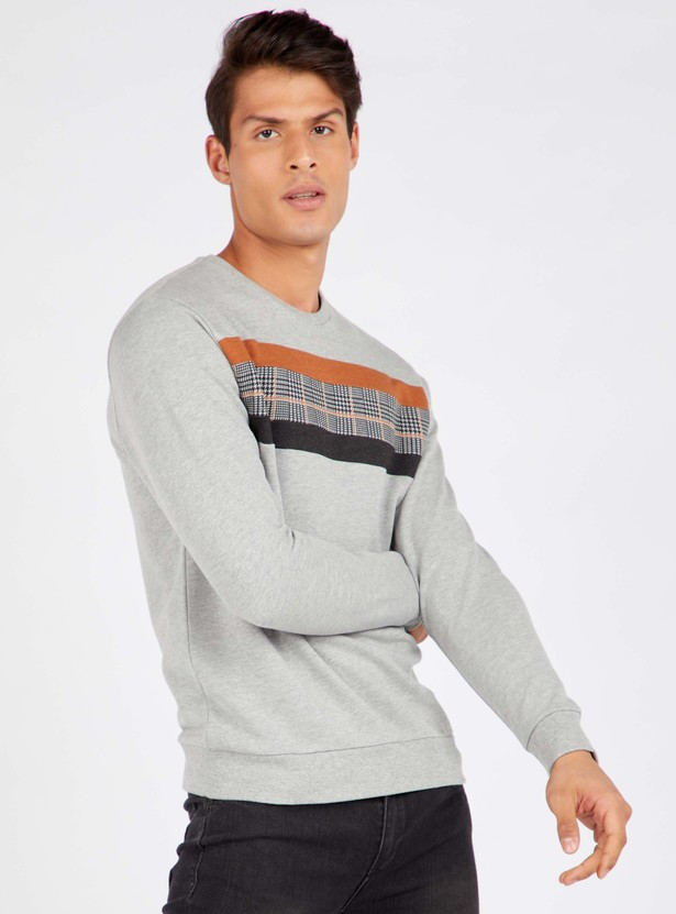 Cut and Sew Panel Round Neck Sweatshirt with Long Sleeves