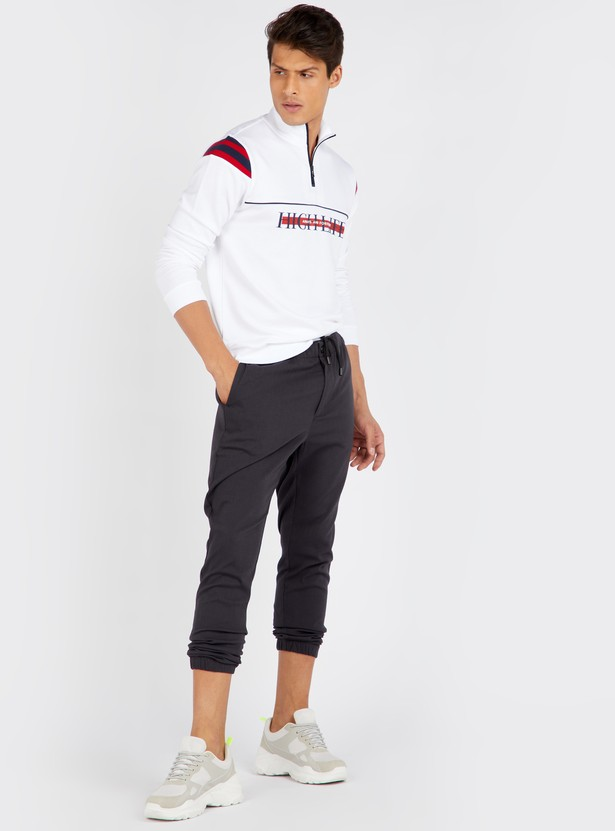 Printed Sweatshirt with High Neck and Long Sleeves