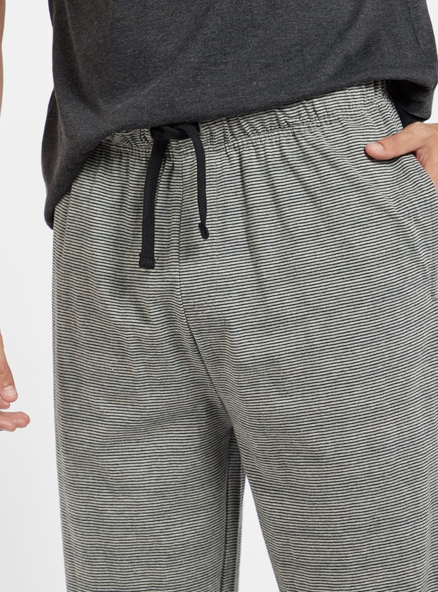 Full Length Striped Knitted Pyjamas with Drawstring Closure