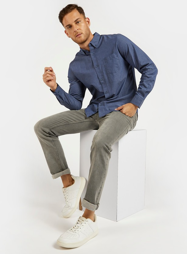 Solid Shirt with Long Sleeves and Button Down Collar
