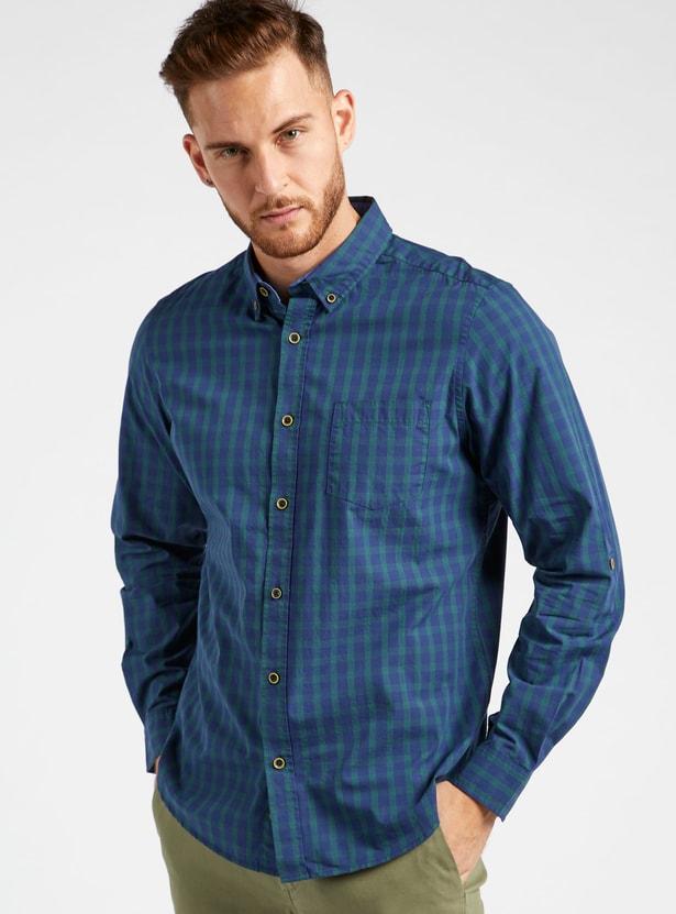 قميص مربعات بياقة عادية وأكمام طويلة