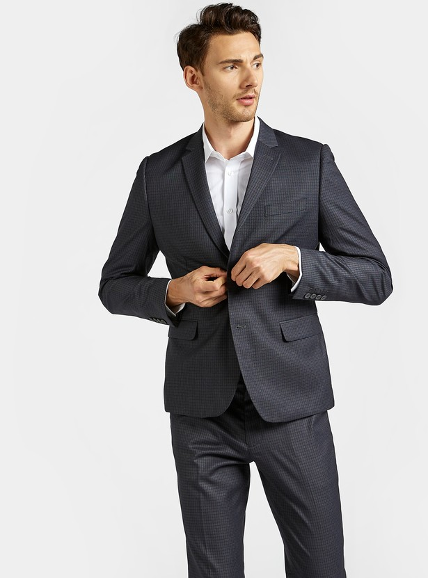 Checked Blazer with Notched Lapel and Flap Pockets