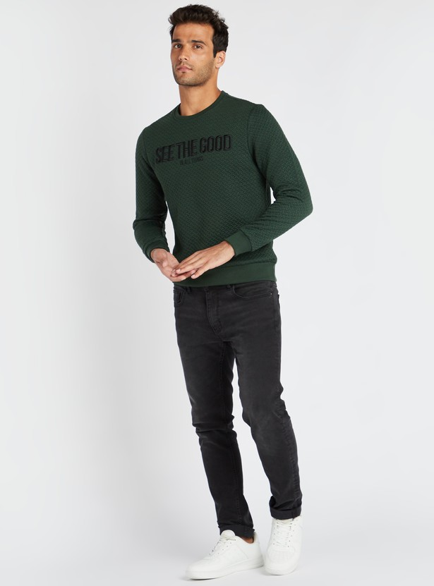 Quilted and Embroidered Round Neck Sweat Top with Long Sleeves