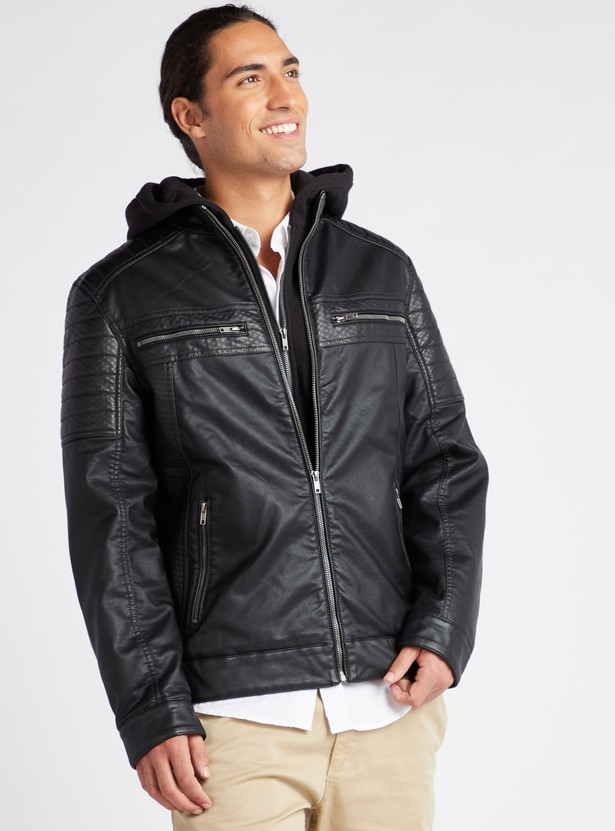Textured Biker Jacket with Zip Detail and Long Sleeves