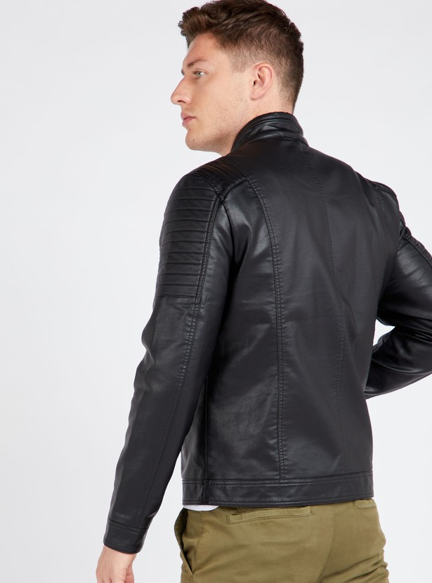 Textured Biker Jacket with Pocket Detail and Long Sleeves