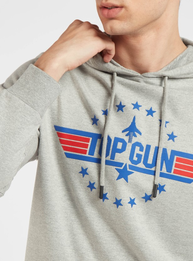 Slim Fit Top Gun Graphic Print Sweatshirt with Long Sleeves and Hood