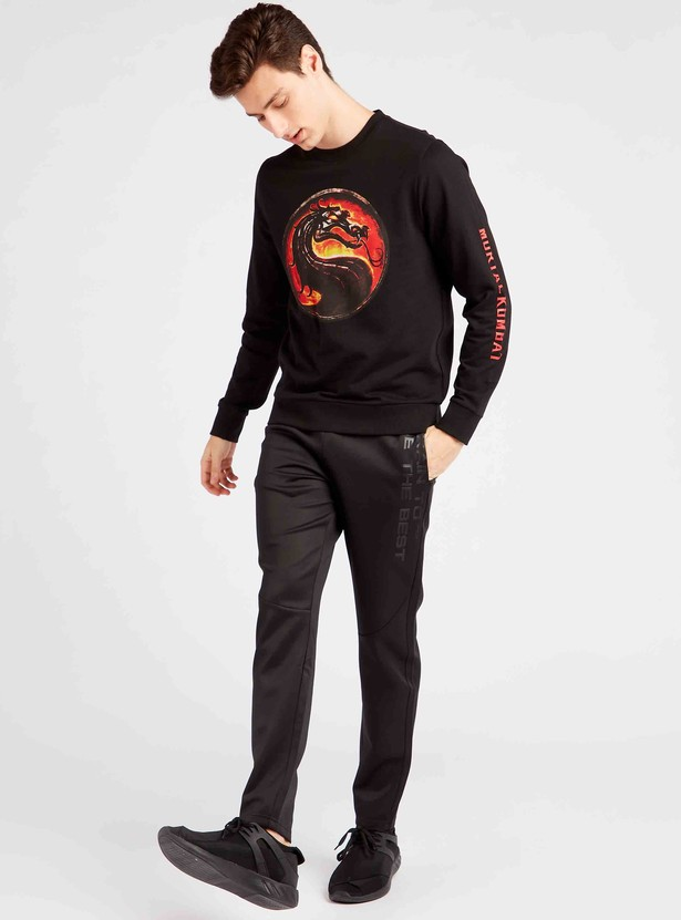 Slim Fit Mortal Combat Print Sweatshirt with Long Sleeves