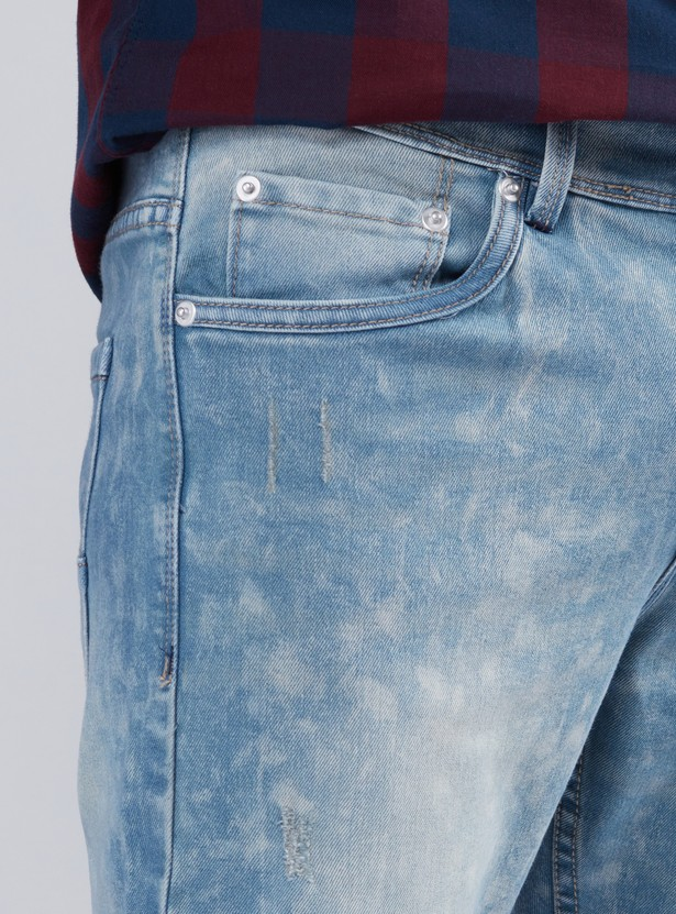 Textured Jeans with Button Closure and Pocket Detail