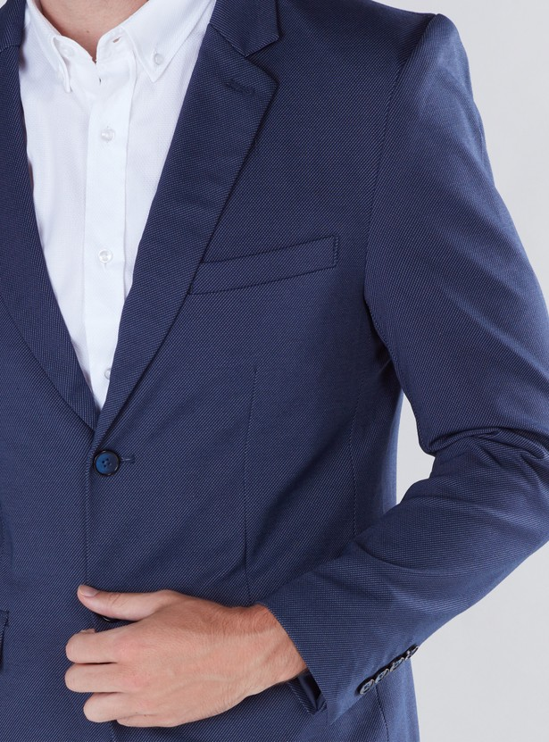 Textured Blazer with Pocket Detail and Button Closure