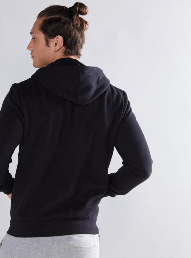 Hoodie with Pocket Detail and Zip Closure