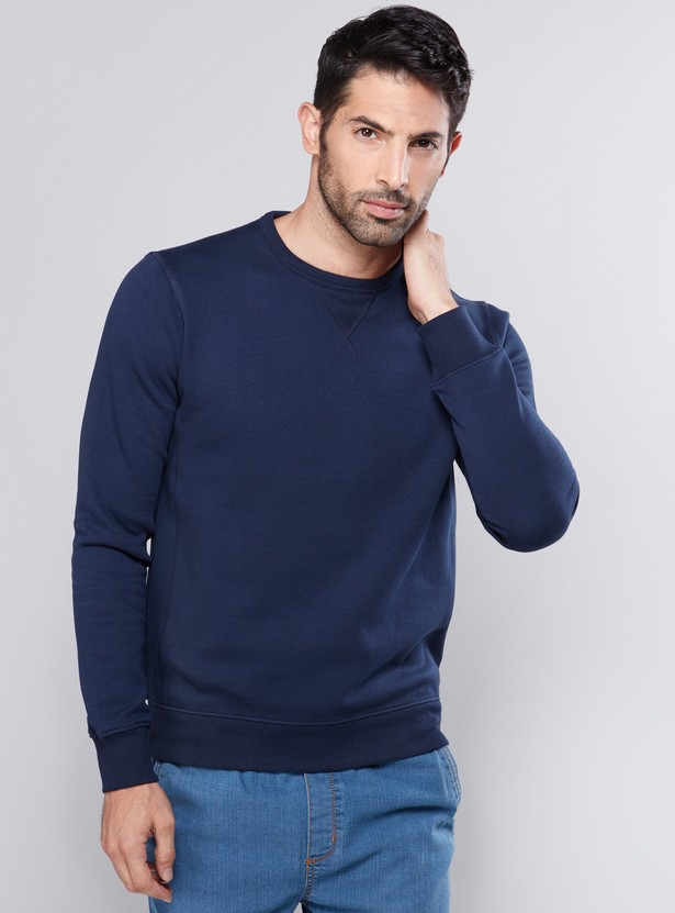 Textured Sweatshirt with Crew Neck and Long Sleeves