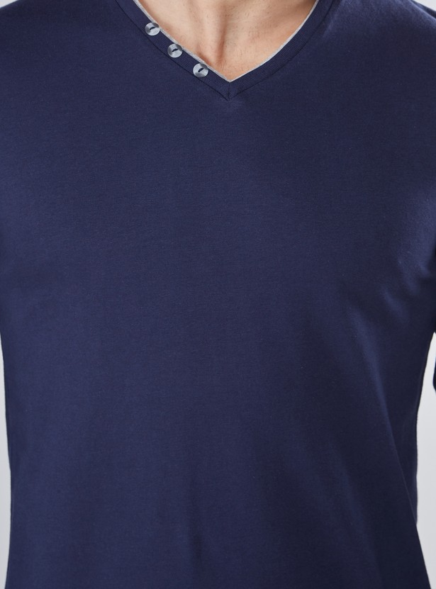 V-Neck T-Shirt with Button Detail and Long Sleeves