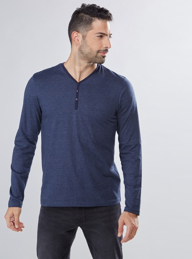 Henley Neck T-Shirt with Long Sleeves