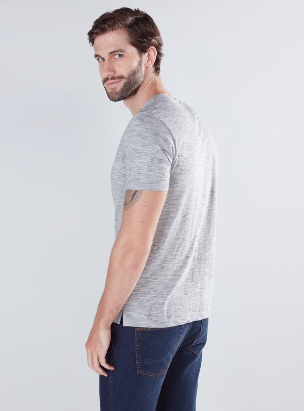 Melange Printed T-Shirt with V-Neck and Short Sleeves
