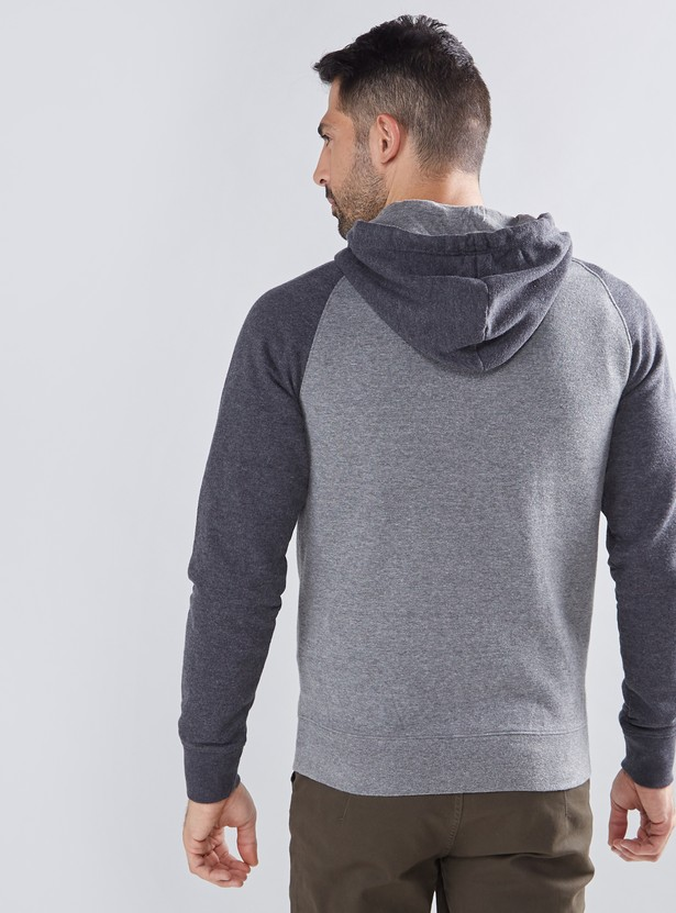 Textured Hoodie with Embroidery and Pocket Detail