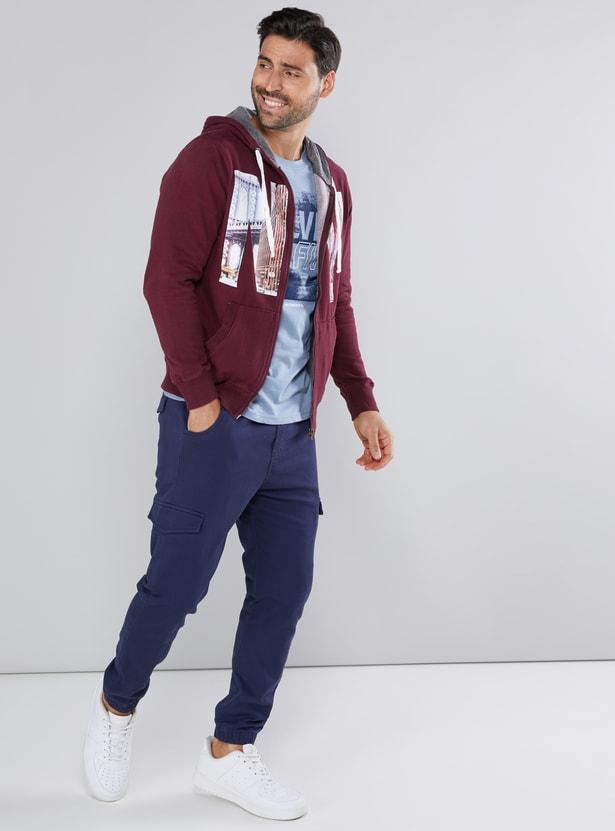 Printed Jacket with Hood and Zip Closure