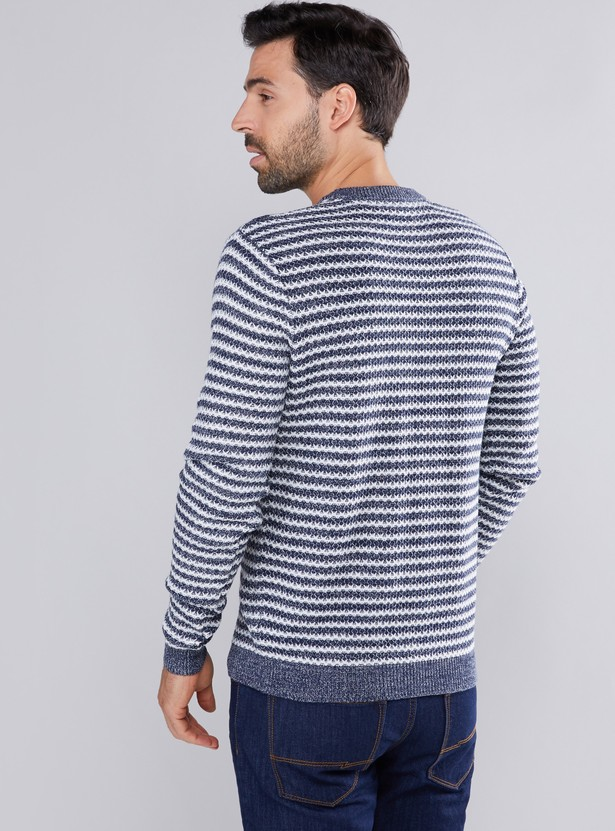 Textured and Striped Sweatshirt with Round Neck and Long Sleeves