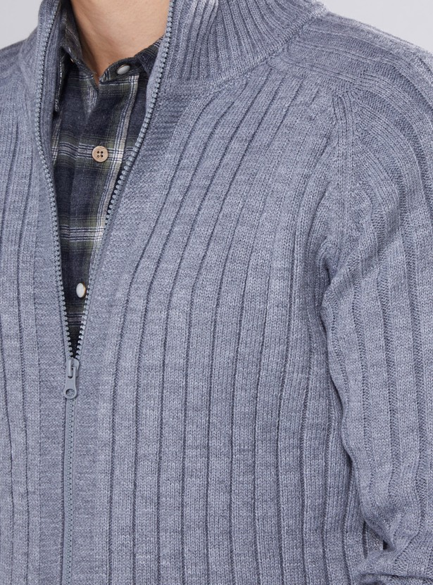 Textured High-Neck Jacket with Zip Closure and Long Sleeves