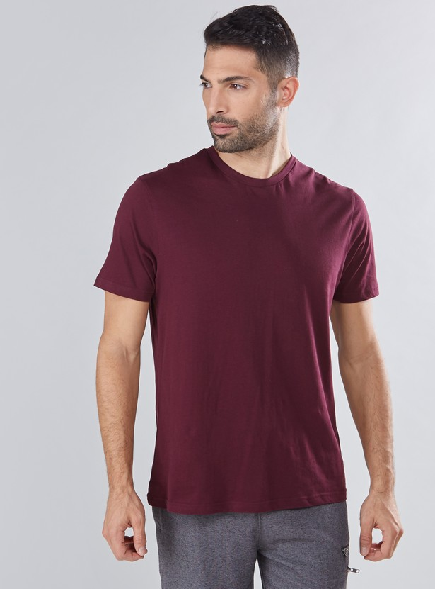 Melange T-Shirt with V-Neck and Short Sleeves
