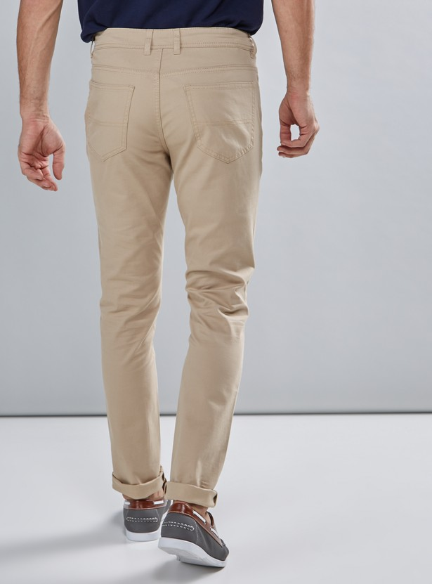 Pocket Detail Pants with Button Closure