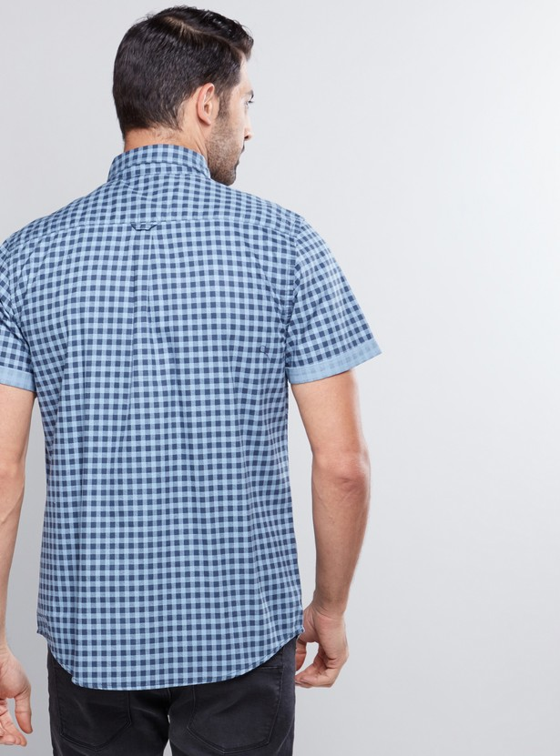Chequered Shirt with Short Sleeves and Complete Placket