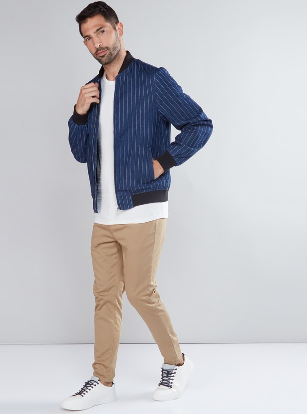 Striped Bomber Jacket with Long Sleeves and Zip Closure