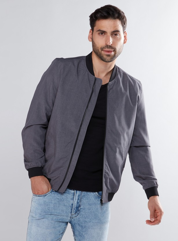 Long Sleeves Bomber Jacket with Zip Closure and Pocket Detail