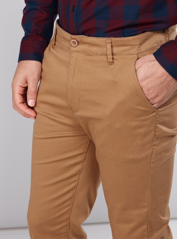 Full Length Chinos with Button Closure and Pocket Detail