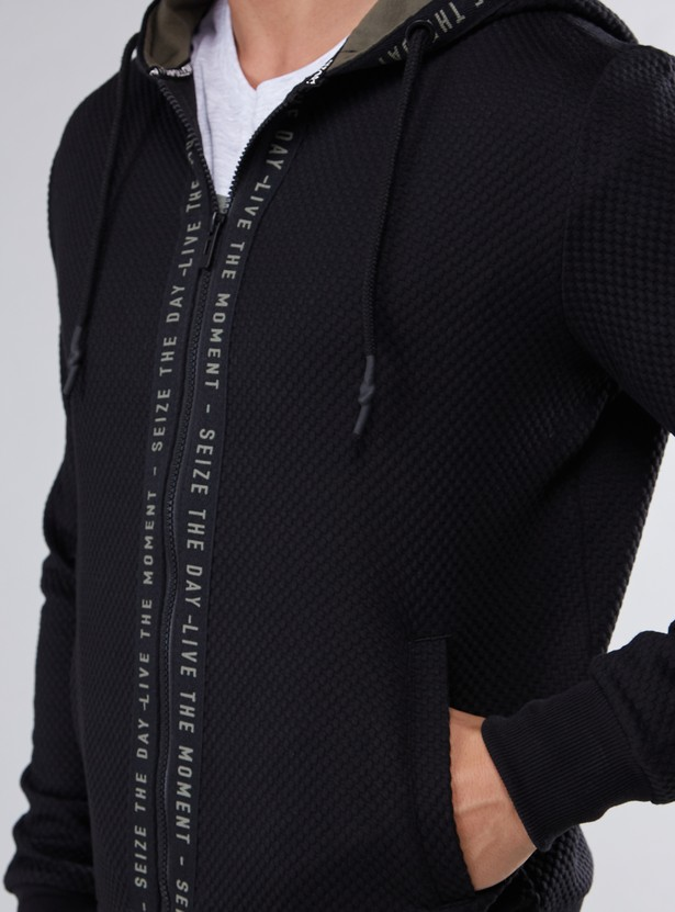 Textured Hoodie with Tape Detail