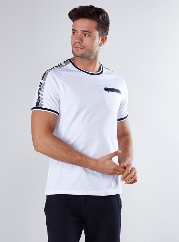 Printed T-shirt with Raglan Sleeves and Zip Detail