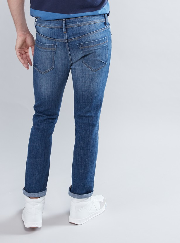Skinny Fit Jeans with Pocket Detail and Button Closure