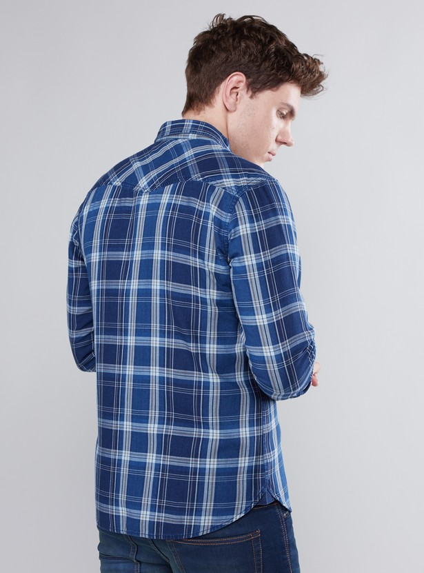 Checked Shirt with Long Sleeves and Spread Collar