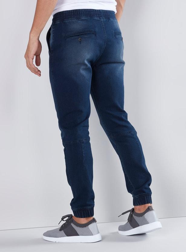 Slim Fit Plain Joggers with Cuffed Hem and Drawstring Closure