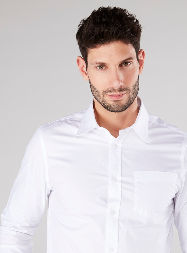 Plain Button Through Shirt with Long Sleeves and Pocket
